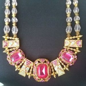 Pink Glass Rhinestone Statement Necklace